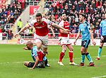 SPORT <br /> Rotherham United VS FLEETWOOD TOWN, New York Stadium Rotherham, Saturday 7TH March 2018<br /> <br /> RICHARD WOOD CELEBRATES HEADING HOME THE MILLERS 3RD AND WINNER OF THE AFTERNOON AGAINST FLEETWOOD.<br /> <br /> <br /> Picture - Alex Roebuck / www.alexroebuck.co.uk