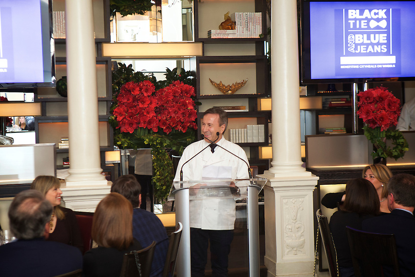 New York, NY - March 13, 2016: Chef Daniel Boulud at Black Tie and Blue Jeans, the annual Sunday Supper fundraiser at Daniel, benefiting Citymeals on Wheels.<br /> <br /> CREDIT: Clay Williams for Edible Manhattan.<br /> <br /> &copy; Clay Williams / claywilliamsphoto.com