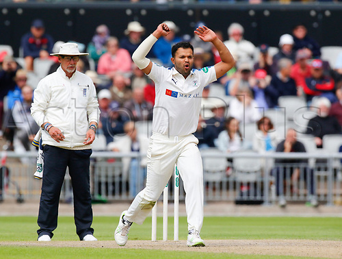 May 21st 2017, Emirates Old Trafford, Manchester, England; Specsavers County Championship Division One; Day Three; Lancashire versus Yorkshire; Azeem Rafiq of Yorkshire bowls during the Lancashire first innings today