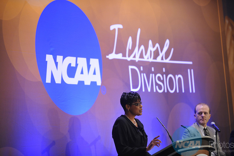 14 JAN 2010: The NCAA Division II General Meeting Session with Keynote Speaker Sheila Baxter, Brigadier General (Ret.) at the 2010 NCAA Convention held at the Marriott Marquis and the Hyatt Regency in Atlanta, GA. Stephen Nowland/NCAA Photos.Pictured: Brigadier General (retired) Sheila Baxter.