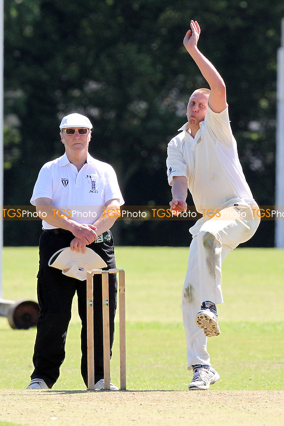 Rudi Filmalter in bowling action for Gidea Park - Gidea Park & Romford CC vs Harold Wood CC - Essex Cricket League at Harrow Lodge - 26/05/12 - MANDATORY CREDIT: Gavin Ellis/TGSPHOTO - Self billing applies where appropriate - 0845 094 6026 - contact@tgsphoto.co.uk - NO UNPAID USE.