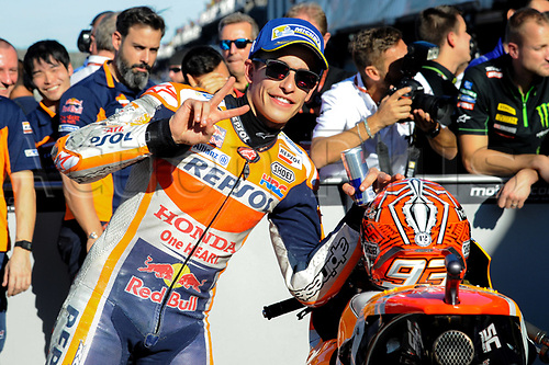 11th November 2017, Gran Premio Motul de la Comunitat Valenciana, Valencia, Spain; MotoGP of Valencia, Saturday qualifying; Marc Marquez at parc ferme