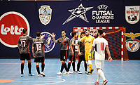 20191010 - HALLE: Benfica's Fernando (17), Fernandinho (18), Fabio Cecilio (5) and goal keeper Diego Roncaglio are pictured celebrating their win after the UEFA Futsal Champions League Main Round match between Araz Naxcivan and SL Benfica on 10th October 2019 at De Bres Sportcomplex, Halle, Belgium. PHOTO SPORTPIX | SEVIL OKTEM