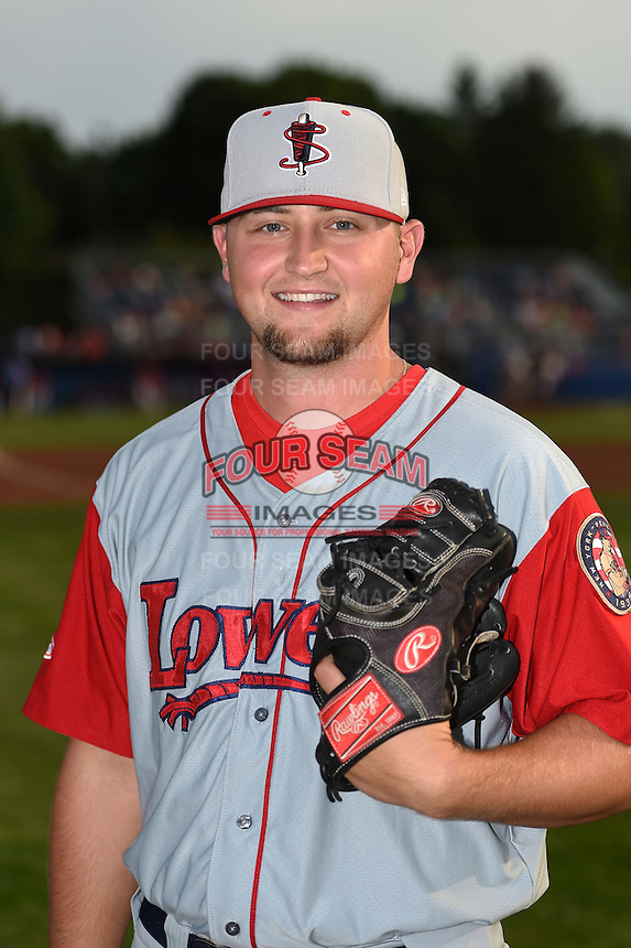 Lowell Spinners pitcher Karsten Whitson (58) poses for a photo before a game against the Batavia Muckdogs on July 18, 2014 at Dwyer Stadium in Batavia, New York.  Lowell defeated Batavia 11-2.  (Mike Janes/Four Seam Images)