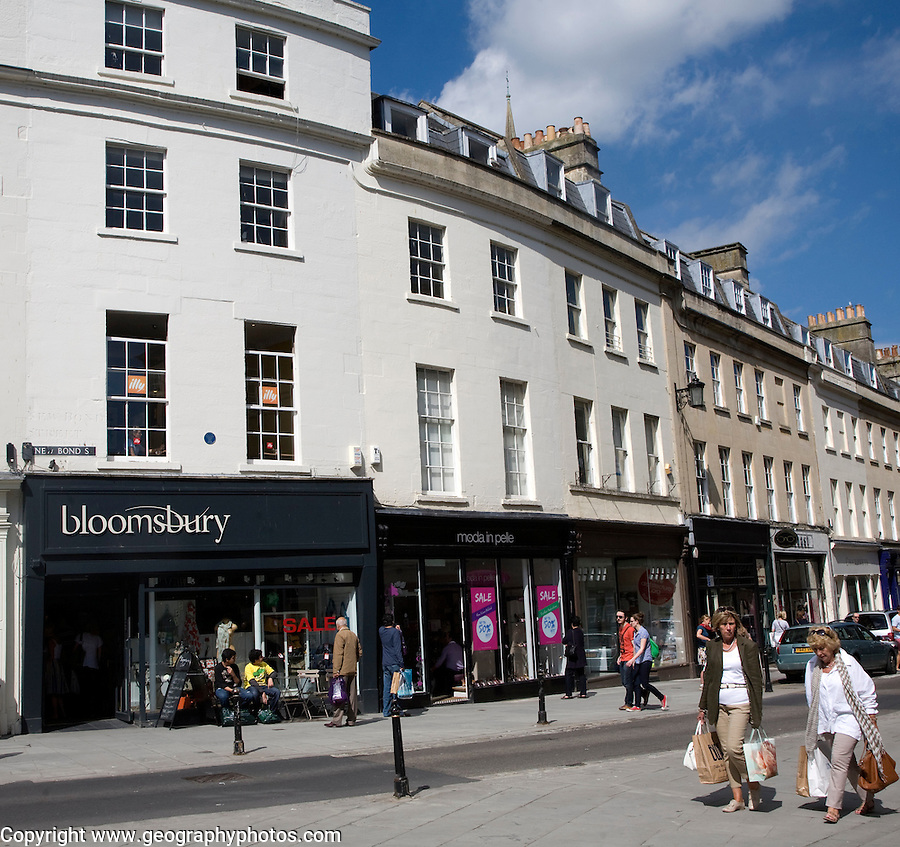 Shops and shoppers in New Bond Street, Bath, Somerset, England