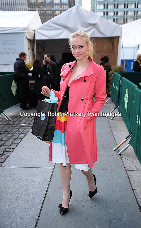 Leven Rambin in Tracy Reese,  leaving the Tracy Reese Fall 2008 Fashion show..arriving at The Mercedes-Benz Fashion Week New York..Fall 2008 Collections of Tracy Reese and Diane von Furstenberg on February 3, 2008 in New York City in ..Bryant Park. ..Robin Plater, Twin Images....212-935-0770