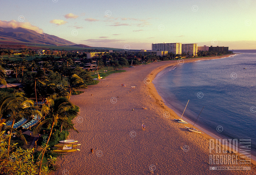 Kaanapali beach and hotels at sunset, West coast, Maui