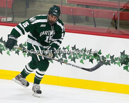 Brandon McNally (Dartmouth - 15) - The Harvard University Crimson tied the visiting Dartmouth College Big Green 3-3 in both team's first game of the season on Saturday, November 1, 2014, at Bright-Landry Hockey Center in Cambridge, Massachusets.