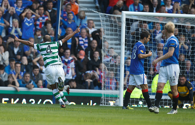 Baddur Ek Kaddouri celebrates after he shoots at Allan McGregor who fumbles his shot for Celtic's second goal.