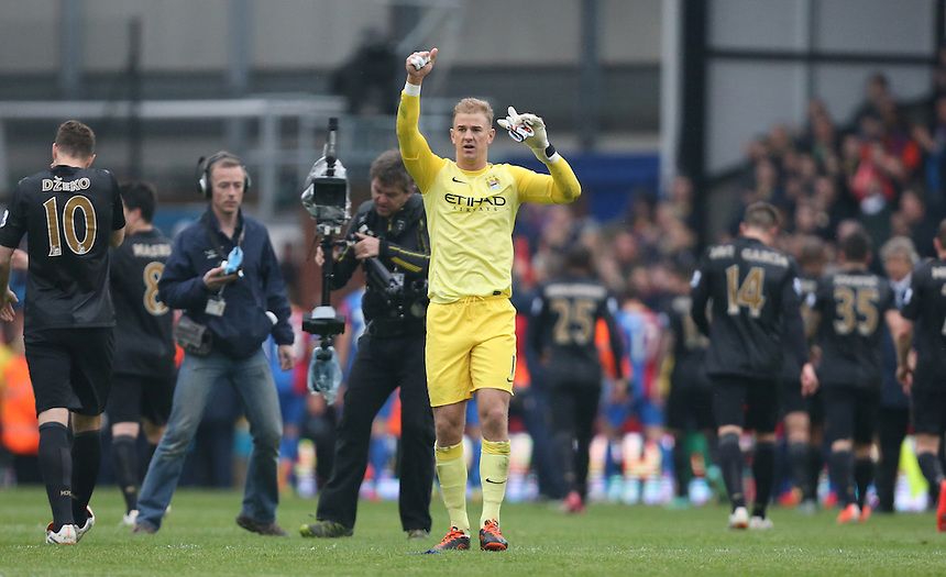 Manchester City's Joe Hart celebrates they win<br /> Photo by Kieran Galvin/CameraSport<br /> <br /> Football - Barclays Premiership - Crystal Palace v Manchester City - Sunday 27th April 2014 - Selhurst Park - London<br /> <br /> &copy; CameraSport - 43 Linden Ave. Countesthorpe. Leicester. England. LE8 5PG - Tel: +44 (0) 116 277 4147 - admin@camerasport.com - www.camerasport.com