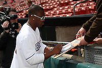 Buffalo Bills running back Fred Jackson signs autographs before a Buffalo Bisons game against the Lehigh Valley IronPigs at Coca-Cola Field on April 19, 2012 in Buffalo, New York.  Lehigh Valley defeated Buffalo 8-4.  (Mike Janes/Four Seam Images)