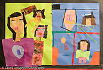 Education Elementary Grade 3 art work by 8 year old girl paper collage self portrait of Asian American vertical
