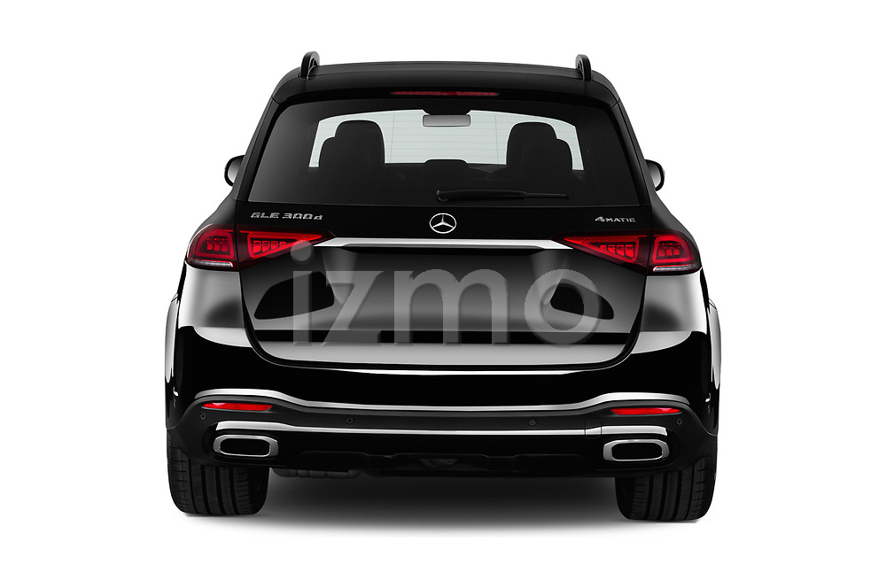 Straight rear view of a 2020 Mercedes Benz GLE AMG-Line 5 Door SUV stock images