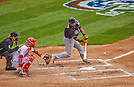 1 April 2013: Miami Marlins infielder Donovan Solano in action during the Opening Day Game against the Washington Nationals at Nationals Park in Washington, DC. The Nationals shut out the Marlins 2-0 to launch the 2013 season. Mandatory Credit: Ed Wolfstein Photo *** RAW (NEF) Image File Available ***