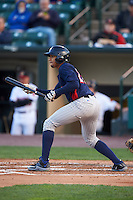 Toledo Mudhens shortstop Dixon Machado (28) squares to bunt during a game against the Rochester Red Wings on May 12, 2015 at Frontier Field in Rochester, New York.  Toledo defeated Rochester 8-0.  (Mike Janes/Four Seam Images)