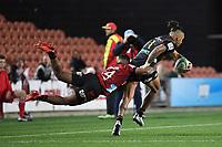 1st August 2020, Hamilton, New Zealand;  Sean Wainui and Sevu Reece.<br /> Chiefs versus Crusaders, Super Rugby Aotearoa, FMG Waikato Stadium, Hamilton, New Zealand.