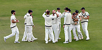Kent players celebrate after their decisive victory over Glamorgan during the Specsavers County Championship division two game between Kent and Glamorgan (day 3) at the St Lawrence Ground, Canterbury, on Sept 20, 2018