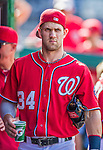 6 September 2014: Washington Nationals outfielder Bryce Harper walks the dugout prior to a game against the Philadelphia Phillies at Nationals Park in Washington, DC. The Nationals fell to the Phillies 3-1 in the second game of their 3-game series. Mandatory Credit: Ed Wolfstein Photo *** RAW (NEF) Image File Available ***