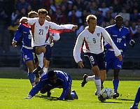 Landon Donovan, left, Clint Mathis, right, Honduras vs USA, 2002.