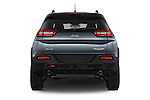 Straight rear view of a 2014 Volkswagen Cherokee Trailhawk 4X4 5 Door SUV stock images