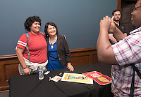 Jasmine Tovar '14 meets longtime labor leader Dolores Huerta, 81, after she spoke at Occidental College's Thorne Hall on March 25, 2014.<br />