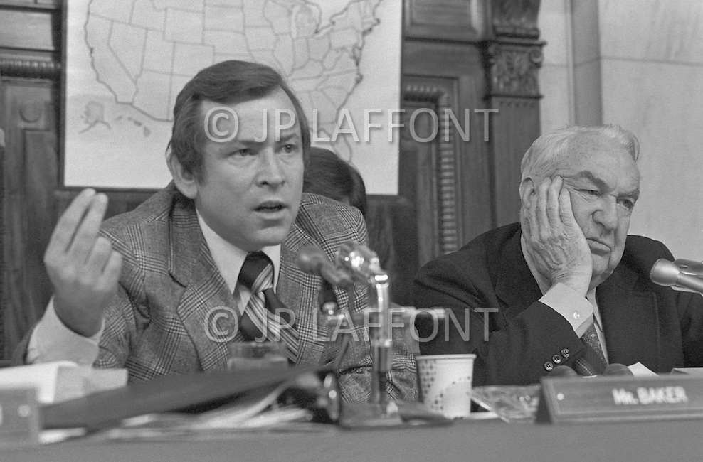 Sen. Howard Baker with Sam Erwin - A break in at the Democratic National Committee headquarters at the Watergate complex on June 17, 1972 results in one of the biggest political scandals the US government has ever seen.  Effects of the scandal ultimately led to the resignation of  President Richard Nixon, on August 9, 1974, the first and only resignation of any U.S. President.