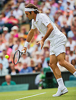 July 6, 2014, UK, London, Tennis, Wimbledon, AELTC, Men's Singles Final:  Novak Djokovic (SRB) vs Roger Federer (SUI), Pictured: Roger Federer in action<br /> Photo: Tennisimages/Henk Koster