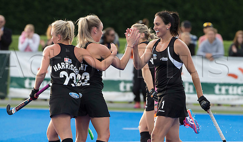 07.04.2016. Unison Hockey Turf, Hastings, New Zealand. Festival of Hockey New Zealand versus Korea. New Zealand celebrate a goal.