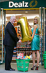 DEALZ CELEBRATES FIRST ANNIVERSARY IN IRELAND BY ANNOUNCING TEN NEW STORES..CEO of Dealz Jim McCarthy and Rosanna Davison pictured.celebrating the first anniversary of trading in Ireland and announced plans to open an additional ten Irish stores in Ireland.
