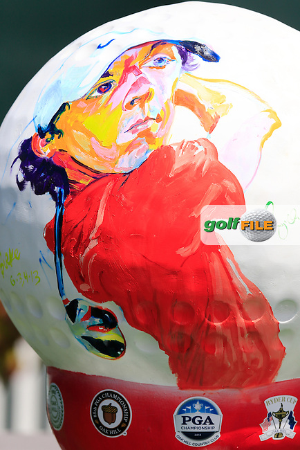 Rory McIlroy's image painted onto a giant golf ball during Tuesday's Practice Day of the 95th US PGA Championship 2013 held at Oak Hills Country Club, Rochester, New York.<br /> 6th August 2013.<br /> Picture: Eoin Clarke www.golffile.ie