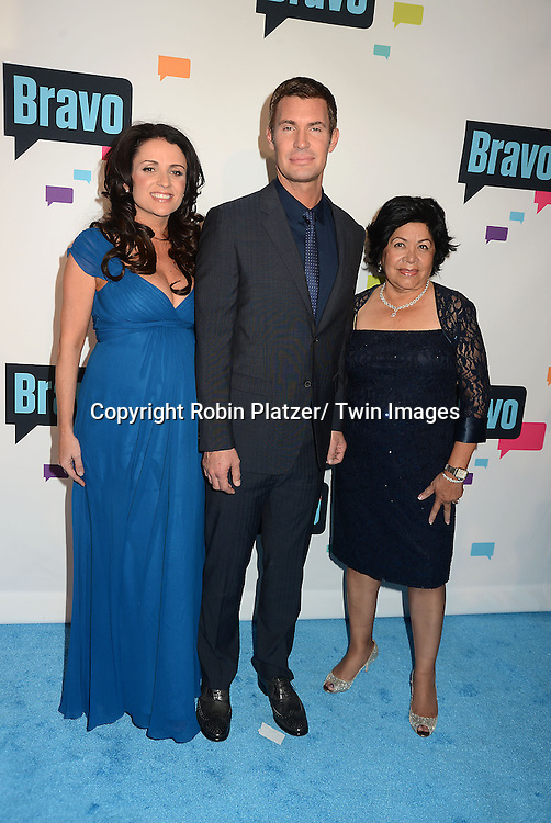 "Jenni Pulos, Jeff Lewis and Zoila Chavez  of ""Flipping Out"" arrive at the Bravo 2013  Upfront on April 3, 2013 at Pillars 37 Studio in New York City."