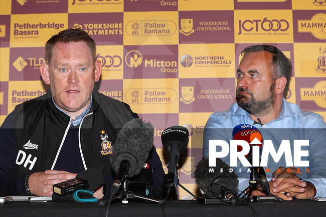 Bradford City head coach David Hopkin and Joint chairman Edin Rahic during Bradford City Press Conference as Bradford City appointment David Hopkin as head coach at the Northern Commercial Stadium, Bradford, England on 6 September 2018. Photo by Thomas Gadd.