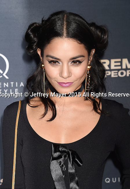 HOLLYWOOD, CA - SEPTEMBER 08: Actress Vanessa Hudgens arrives at the Premiere Of The Vladar Company's 'Jeremy Scott: The People's Designer' at TCL Chinese 6 Theatres on September 8, 2015 in Hollywood, California.