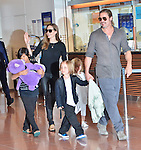 Brad Pitt, Angelina Jolie, Pax, Knox and Vivienne, Jul 28, 2013 :  Tokyo, Japan : Brad Pitt, Angelina Jolie and their children Pax, Knox and Vivienne arrive at Tokyo International Airport in Tokyo, Japan on July 28, 2013. (Photo by AFLO)