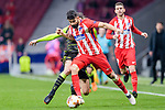 Diego Costa of Atletico de Madrid (frint) fights for the ball with Cristiano Piccini of Sporting CP (back) during the UEFA Europa League quarter final leg one match between Atletico Madrid and Sporting CP at Wanda Metropolitano on April 5, 2018 in Madrid, Spain. Photo by Diego Souto / Power Sport Images