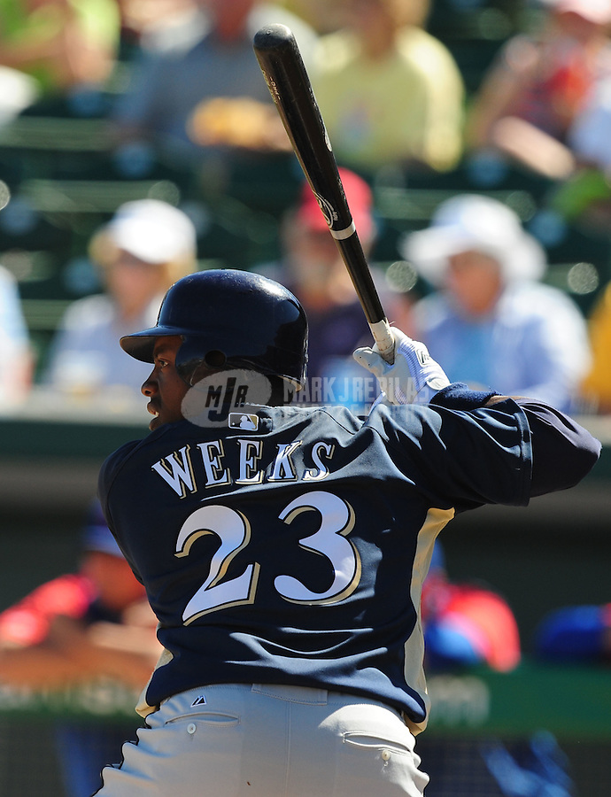 Mar 4, 2008; Mesa, AZ, USA; Milwaukee Brewers infielder Rickie Weeks against the Chicago Cubs at HoHoKam Park. Mandatory Credit: Mark J. Rebilas-US PRESSWIRE