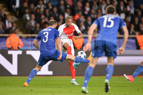 May 3rd 2017, Stade Louis II, Monaco,France; UEFA Champions league football semi-final, AS Monaco versus Juventus;  KYLIAN MBAPPE (mon) challenged by Chiellini (juv)