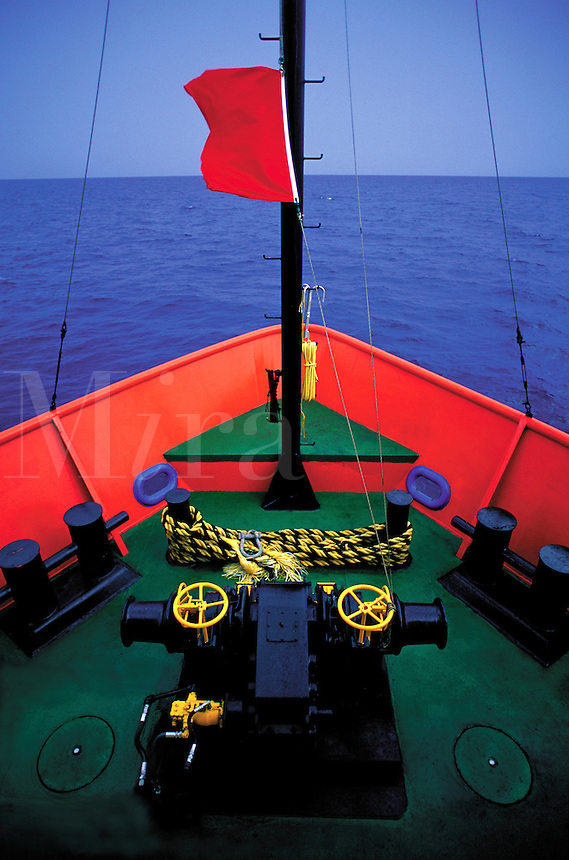Fine art shot showing bright colors of bow of seismic ship in the Gulf of Mexico. Gulf of Mexico.