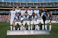 San Diego, CA - Sunday January 29, 2017: United States Starting Eleven prior to an international friendly between the men's national teams of the United States (USA) and Serbia (SRB) at Qualcomm Stadium.
