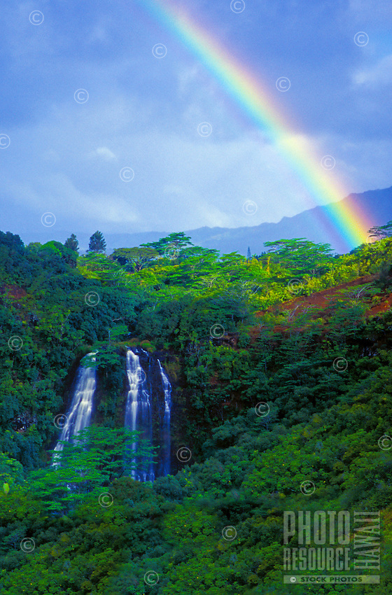Opaekaa Falls and rainforest with rainbow, Kauai