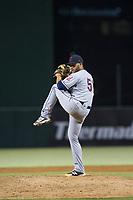 AZL Indians relief pitcher Luis Araujo (51) delivers a pitch during a game against the AZL Angels on August 7, 2017 at Tempe Diablo Stadium in Tempe, Arizona. AZL Indians defeated the AZL Angels 5-3. (Zachary Lucy/Four Seam Images)