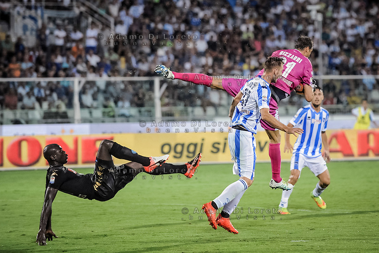 Koulibaly Kalidou (Napoli) and Bizzarri Albano (Pescara) during the Italian Serie A football match Pescara vs SSC Napoli on August 21, 2016, in Pescara, Italy. Photo by Adamo Di Loreto