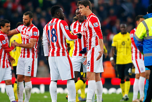 27.02.2016. Britannia Stadium, Stoke, England. Barclays Premier League. Stoke City versus Aston Villa. Mame Biram Diouf has a disagreement with team mate Philipp Wollscheid at the end of the game which results in Mame Biram Diouf pushing Wollscheid in the face