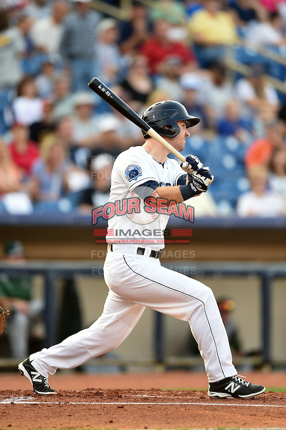 Lake County Captains outfielder Mike Papi (6) at bat during a game against the Fort Wayne TinCaps on August 21, 2014 at Classic Park in Eastlake, Ohio.  Lake County defeated Fort Wayne 7-8.  (Mike Janes/Four Seam Images)