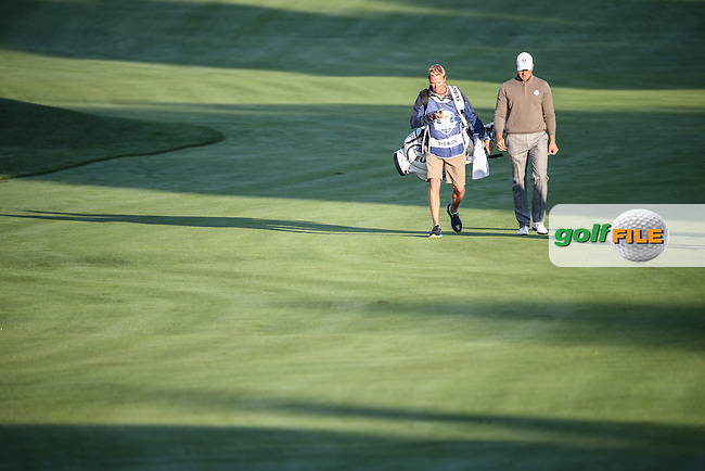Henrik Stenson (Team Europe) and caddie Gareth Lord head to the first green during the Saturday Morning Foursomes, at the 41st Ryder Cup 2016, at Hazeltine National Golf Club, Minnesota, USA.  01View of the 10th2016. Picture: David Lloyd | Golffile.