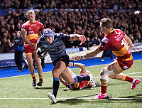 Cardiff Blues' Tom James scores his sides fourth try<br /> <br /> Photographer Simon King/CameraSport<br /> <br /> Guinness Pro14 Round 6 - Cardiff Blues v Dragons - Friday 6th October 2017 - Cardiff Arms Park - Cardiff<br /> <br /> World Copyright &copy; 2017 CameraSport. All rights reserved. 43 Linden Ave. Countesthorpe. Leicester. England. LE8 5PG - Tel: +44 (0) 116 277 4147 - admin@camerasport.com - www.camerasport.co