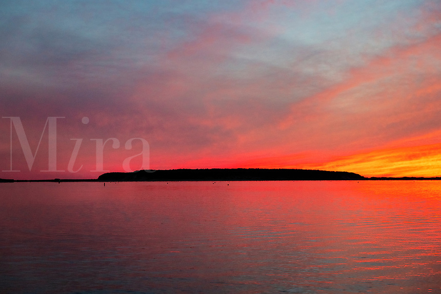 Sunset on Wellfleet Harbor, Cape Cod, Massachusetts, USA.