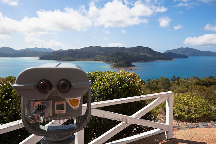 View out over Whitsunday Islands from One Tree Hill lookout.  Hamilton Island, Whitsundays, Queensland, Australia