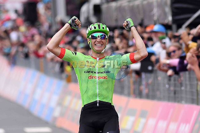 Pierre Rolland (FRA) Cannondale-Drapac wins solo Stage 17 of the 100th edition of the Giro d'Italia 2017, running 219km from Tirano to Canazei, Italy. 24th May 2017.<br /> Picture: LaPresse/Gian Mattia D'Alberto   Cyclefile<br /> <br /> <br /> All photos usage must carry mandatory copyright credit (&copy; Cyclefile   LaPresse/Gian Mattia D'Alberto)