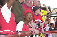 Premiership Football - Arsenal v Leicester City:.2003/04 Season - 15/05/2004  [Record breaking Season undefeated] .Young Arsenal fan.[Credit] Peter Spurrier Intersport Images